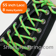 Neon Green & Neon Orange 55INCH Round Shoe Laces Strings 2Pairs