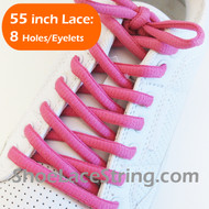 Fuchsia Pink 55INCH Oval Shoe Laces Sneaker Strings 2Pairs