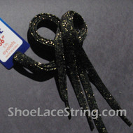Gold in Black Glitter Shoe Lace Sparkling Shoe String 45IN 2PRs