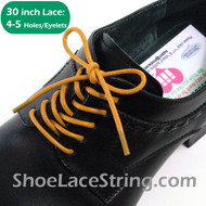 30INCH Yellow Round Thin Dress Shoe Laces Strings, 1PAIR