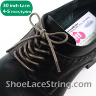Grey(Gray) 30INCH Dress Shoe Laces Round Thin ShoeStrings, 1PAIR