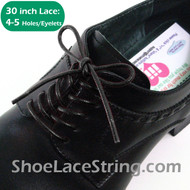 Black 30INCH Dress Shoe Lace Round Thin ShoeStrings, 1PAIR