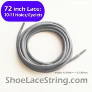 72INCH Light Grey Round Shoe Laces Boots Sneaker Strings, 1PAIR