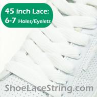 White Flat Wide FAT 45INCH ShoeLaces Sneaker Strings 2PRs