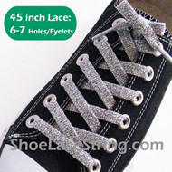 Glitter Sparkling Silver 45IN Shoe/Sneaker Laces Strings 2Pairs