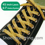 """Gold Yellow 45"""" Cool Sparkling Twinkled Sneaker/Shoe Laces 1Pair"""