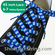 Blue Woven Rainbow Striped 45inch Shoe Laces Strings 1Pair