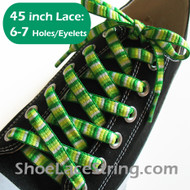 Green Woven Rainbow Striped 45inch Shoe Laces Strings 1Pair