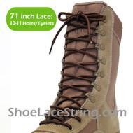 Dark Beige & Brown 71IN Work/Combat Boots Round Stripe Laces