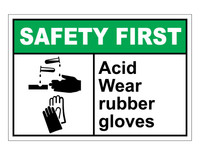 ANSI Safety First Acid Wear Rubber Gloves