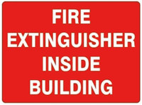 Fire Extinguisher Inside Building  (White Lettering / Red Background)