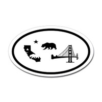 California Icons Oval Sticker