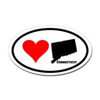 Connecticut Love Oval Sticker