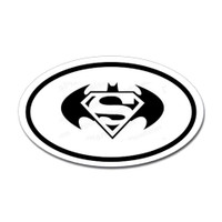 Batman and Superman Combo Oval Sticker