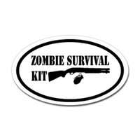 Zombie Survival Kit Oval Sticker