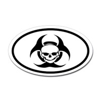 Biohazard Skull Oval Sticker
