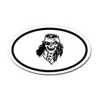 Confederate Skull Oval Sticker #1