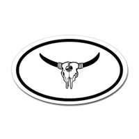 Cattle Skull Oval Sticker