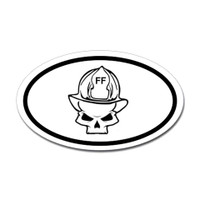 Firefighter Skull Oval Sticker
