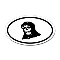 Grim Reaper Skull Oval Sticker