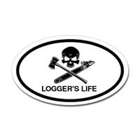 Logger's Life Skull Oval Sticker