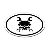 Mechanic Skull Oval Sticker