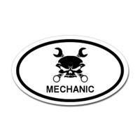 Mechanic Skull Oval Sticker #2