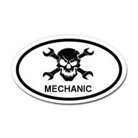 Mechanic Skull Oval Sticker #3