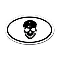 Skull and Bullet Holes Oval Sticker