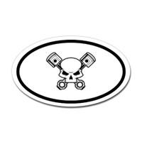 Skull and Pistons Oval Sticker