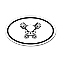 Skull and Pistons Oval Sticker