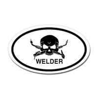 Welder Skull Oval Sticker