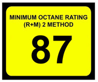 Minimum Octane Rating 87