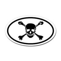 Skull and Crossed Bones Oval Sticker #2