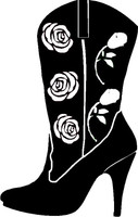 Cowboy Boot With Roses and Flowers Decal