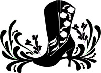 Cowgirl Boot Design With Roses Decal