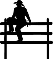 Cowboy On Fence Decal #2