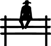Cowboy On Fence Decal #3
