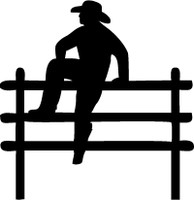 Cowboy On Fence Decal #4