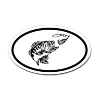Fishing Oval Sticker #19
