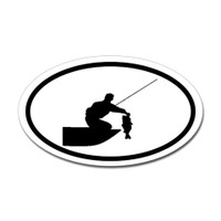 Fishing Oval Sticker #23