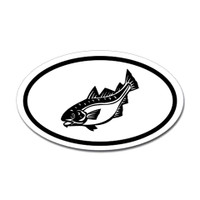 Fishing Oval Sticker #25