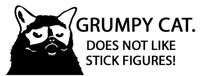 Grumpy Cat Does Not Like Stick Figures Decal