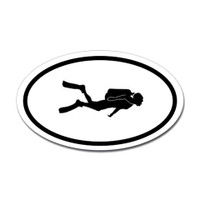 Diving Oval Sticker #12