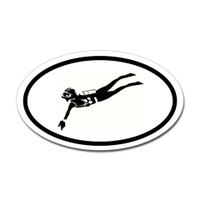 Diving Oval Sticker #13
