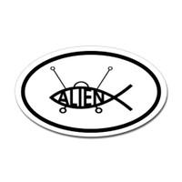 Alien Fish Oval Sticker
