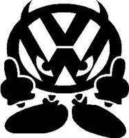 JDM VW Devil Flipping Bird Decal