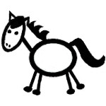 Stick Figure Horse Decal