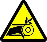 Belt Drive Entanglement Hazard (ISO Triangle Hazard Symbol)