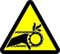 Chain Drive Entanglement Hazard (ISO Triangle Hazard Symbol)
